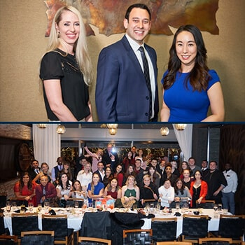 A collage of two photos, the first shows our three specialists; Dr. Neal Raval, Dr. Elisabeth Easley and Dr. Laura Mooon in a picture smiling while they dress elegantly and the second shows all our team in a large dining room formed for a picture after a dinner