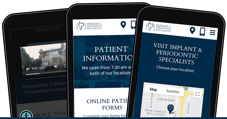 Implant & Periodontic Specialists' new website on three phone screens