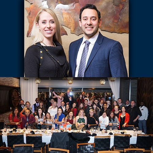 A collage of two photos, the first shows our specialists; Dr. Neal Raval, and Dr. Elisabeth Easley in a picture smiling while they dress elegantly and the second shows all our team in a large dining room formed for a picture after a dinner