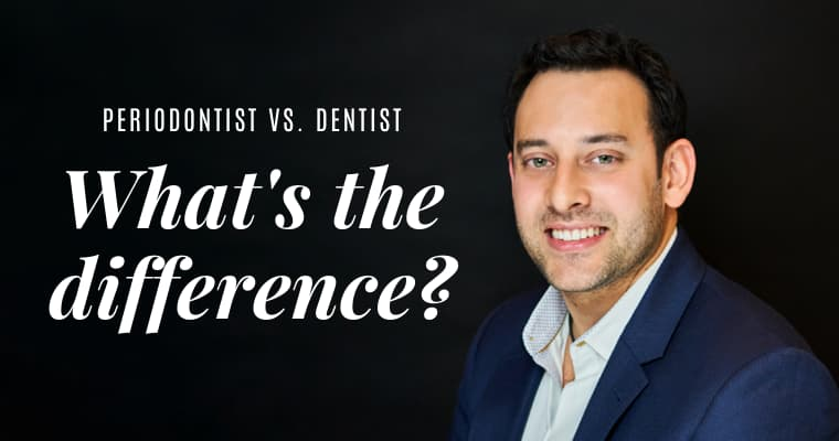 "Dr. Neal Raval wearing light blue shirt with blue jacket and text ""Periodontist vs. dentist - what's the difference?"""